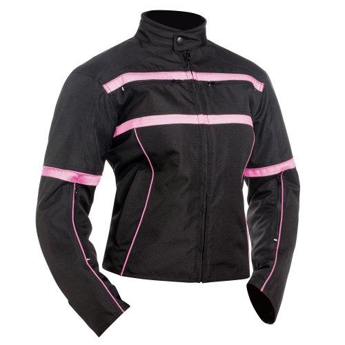 BILT Womens Helia Waterproof Vented Textile Motorcycle Jacket - 2XL PinkBlack