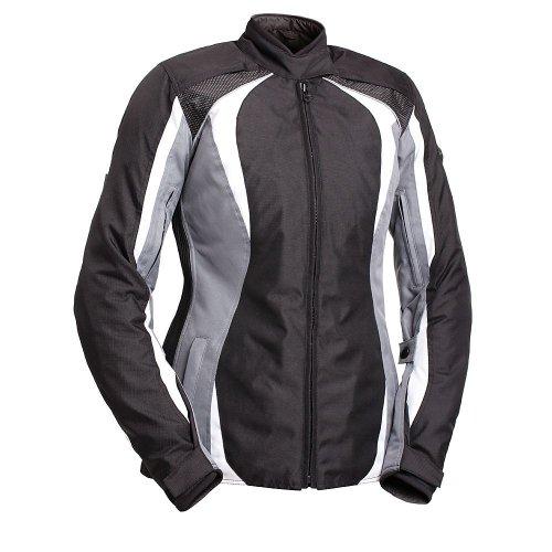BILT Womens Tempest Waterproof Textile Motorcycle Jacket - 2XL BlackWhiteGray