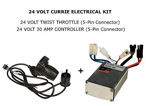 Currie Tech 24 Volt Eletrical Kit Twist Throttle w LED 24 Volt 30A 5pin Controller for 24 Volt Ezip Schwinn Currie Electric Scooters