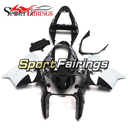 Sportfairings Black White Plastics ABS Motorcycle Fairing Kits For Kawasaki ZX9R Year 2002 2003 Motorbike Cowling Bodywork