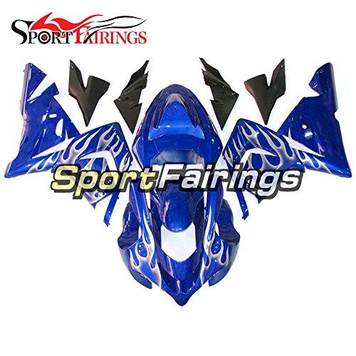 Sportfairings Blue White Flames Plastics Injection ABS Motorcycle Fairing Kits For Kawasaki ZX10R Year 2004 2005 Body Kit