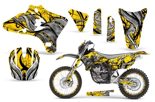 CreatorX Yamaha Yz250F Yz450F Wr250 Wr450 Graphics Kit Decals Fire Blade Yellow Incl Number Plate Rim Graphics