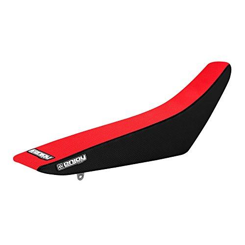 Enjoy MFG 2010 - 2015 Suzuki RMZ 250 Black Sides  Red Top Full Gripper Seat Cover