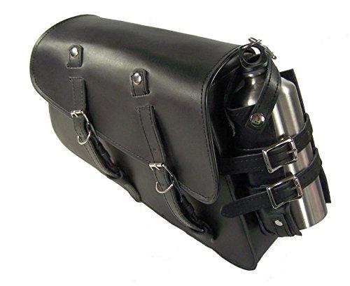 Black Leather Solo SaddleBag Bottle Holder Swingarm Bag for Chopper Bobber New