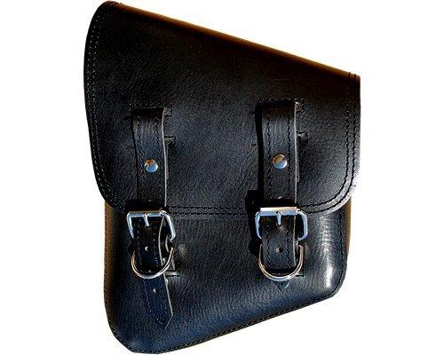 Harley Softail and Rigid Frame Left Side Saddle Bag Swingarm Bag Black Vinal PVC Synthetic Leather