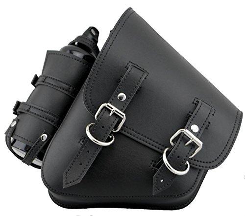Harley Softail and Rigid Frame Left Side Saddle Bag Swingarm Bag Black Vinal PVC Synthetic Leather with Fuel Bottle Holder
