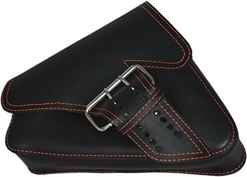 La Rosa Design 04-UP Harley Sportster Nightster 883 Iron 1200XL Left Side Saddle Bag Swingarm Bag - Black w Orange Thread