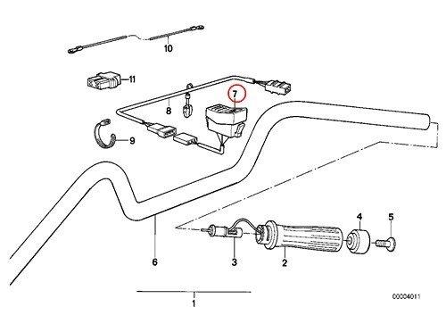 BMW Genuine Motorcycle Heated Handlebar Grips Heated Seat Switch L700MM R65 R80 R80RT R100RT R1100R R850 R100GS PD K1 K100RS K1100LT K1100RS K1200LT K75 K75C K75RT K75S K100 K100LT K100RS K100RT