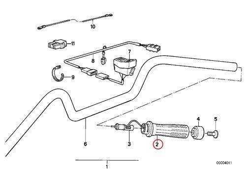 BMW Genuine Motorcycle Heated Handlebar Grips Right Grooved Handle R1100GS R1100R R850 R1100RS R1100RT K1 K100RS K1100LT K1100RS