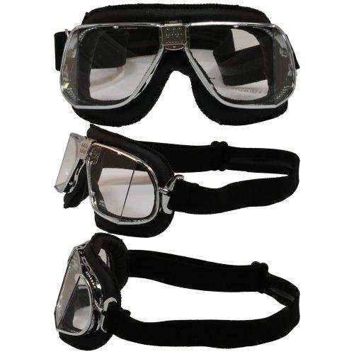 Nannini Cruiser Leather Anti-Fog  Goggles Black FrameClear Lens