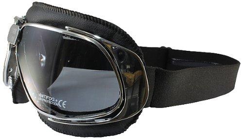 Nannini Cruiser Leather Anti-Fog  Goggles Black FrameGrey Lens