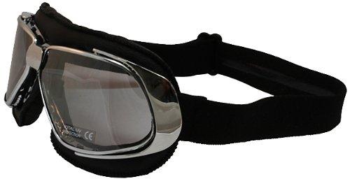 Nannini Cruiser Leather Goggles Black FrameSilver Mirror Lens