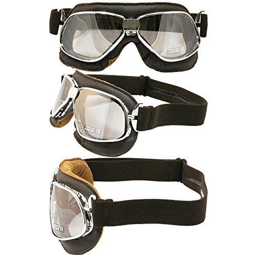 Nannini Cruiser Leather Goggles Brown LeatherSilver Mirror Lens