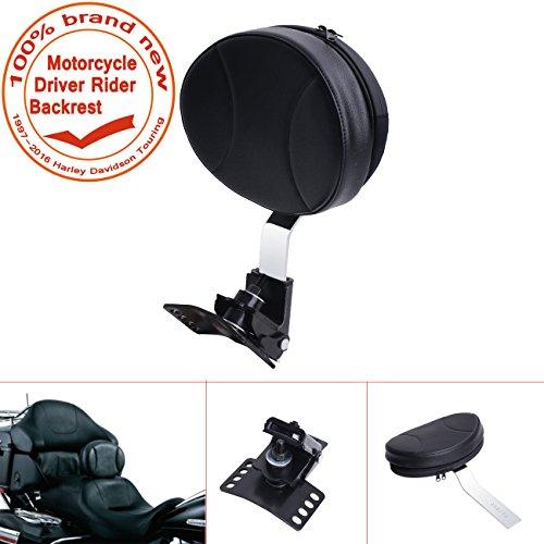 E-most Black Detachable Adjustable Driver Rider Backrest Custom Made For 1997-2016 Harley Davidson Touring Models