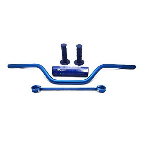 JFG RACING 78 22mm Blue Universal Motorcycle Mid Handlebars Handle Bar Tubes Handlebar Cross Bar with Pad Grips Set for Yamaha YZ125 YZ250 YZF250F YZF450F WR125