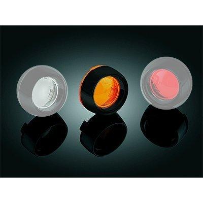 Kuryakyn 5481 Gloss Black Deep Dish Bezel with Amber Lens for Harley 00-13 Models with Bullet Turn Signals KU 5481