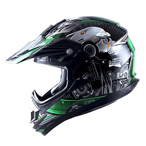 Adult Motocross Helmet Off Road MX BMX ATV Dirt Bike Mechanic Skull Green
