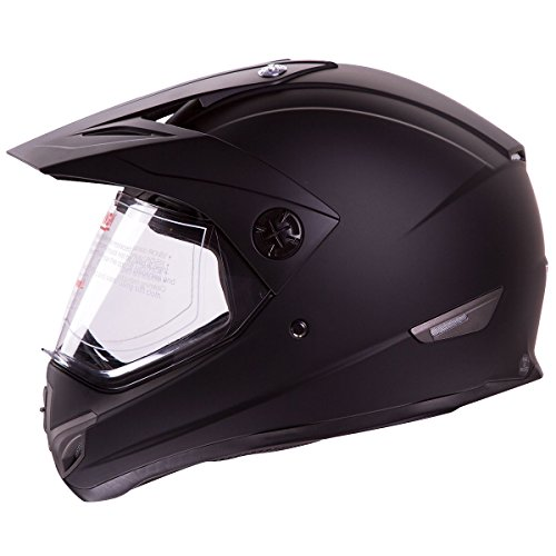 Flat Black Dual Sport Atv Utv Motocross Street Bike Hybrid Helmet Dot (s)
