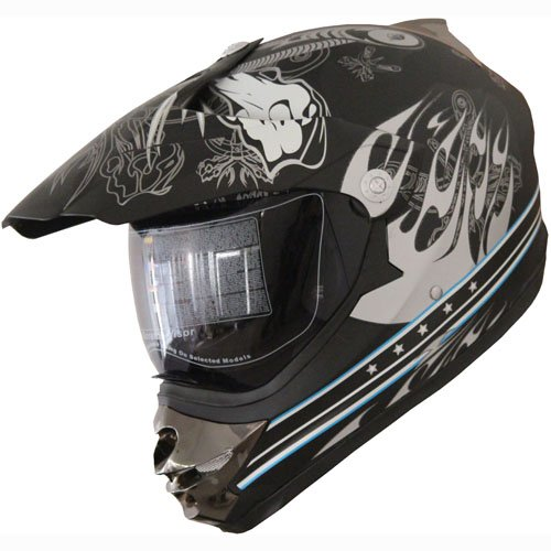 Motocross Dual Sport Off Road Dirt Bike Atv Motorcycle Helmet Flat Black 183 W/ Visor (xxl)