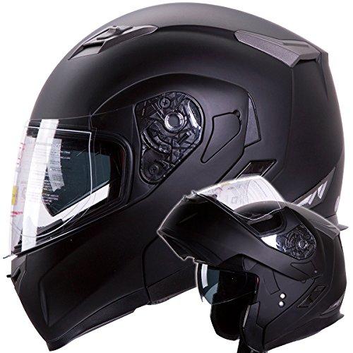 Motorcycle / Snowmobile Matte Black Dual Visor Modular Helmet Dot (l)