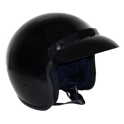 Motorcycle 3/4 Open Face Helmet Snap On Visor Street Cafe Racer Dot - Glossy Black (l)