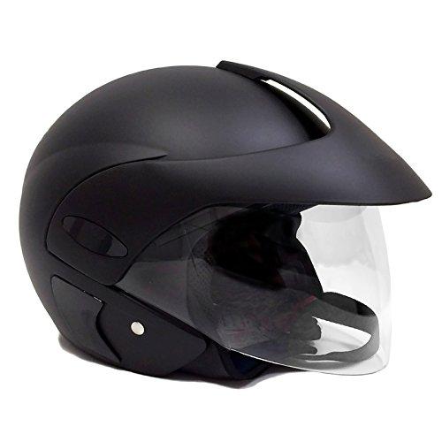 Motorcycle Scooter Street Open Face Helmet Dot - Flip Up Shield - Matte Black (large) 203