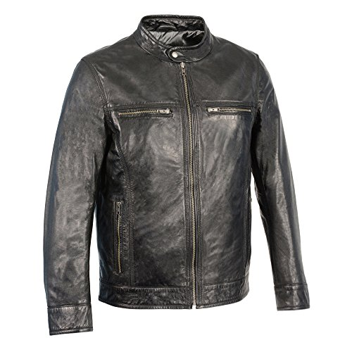Milwaukee Leather Mens Classic Moto Leather Jacket With Zipper Front Black Medium 1 Pack