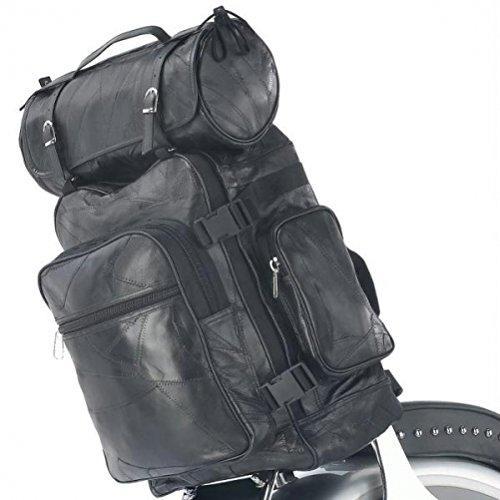 Diamond Plate Rock Design 3pc Genuine Buffalo Leather Motorcycle Bag Set LUMCBP