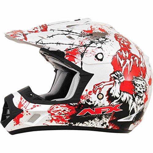 AFX FX-17 Zombie Mens Motocross Helmets - WhiteRed - X-Large