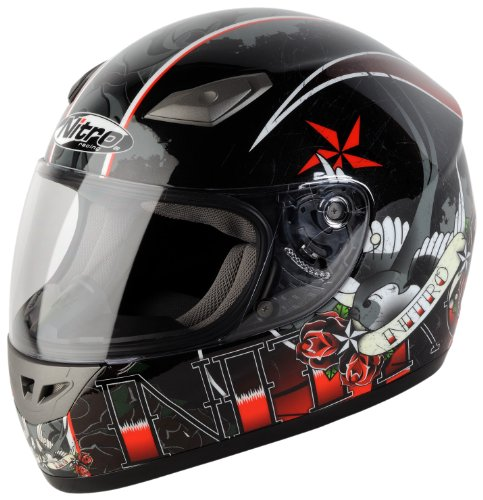 Nitro Tattoo Full Face Helmet BlackRed Medium