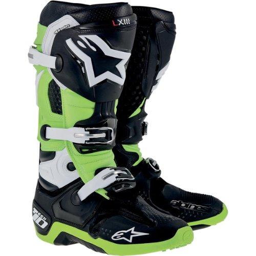 Alpinestars Tech 10 Boots  Primary Color Green Size 10 Distinct Name BlackGreen Gender MensUnisex 20100141610