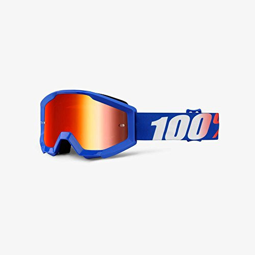 Orange Cycle Parts Strata Junior  Youth MX Motocross Goggles by 100 Nation Blue Red Lens