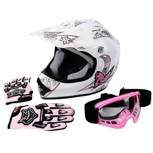 TCMT DOT Youth Pink Butterfly Dirt Bike ATV Helmet MotocrossGogglesGloves L