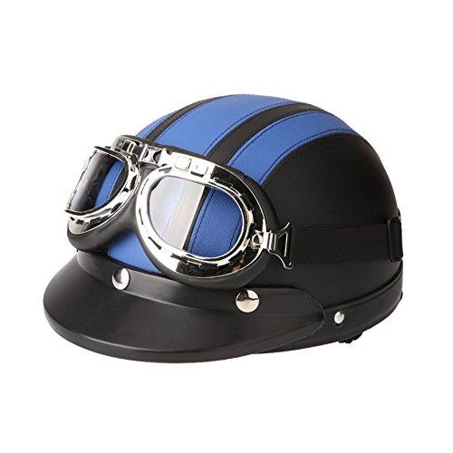 TOOGOOR 40-60 cm Leather Motorcycle Goggles Vintage Garman Style Half Helmets Motorcycle Biker Cruiser Scooter Touring Helmet Blue