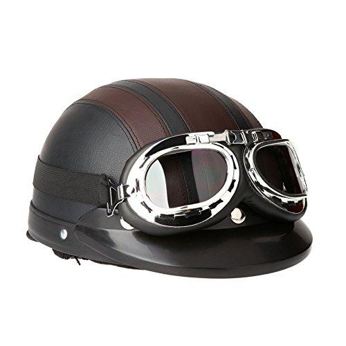 TOOGOOR 40-60 cm Leather Motorcycle Goggles Vintage Garman Style Half Helmets Motorcycle Biker Cruiser Scooter Touring Helmet Brown