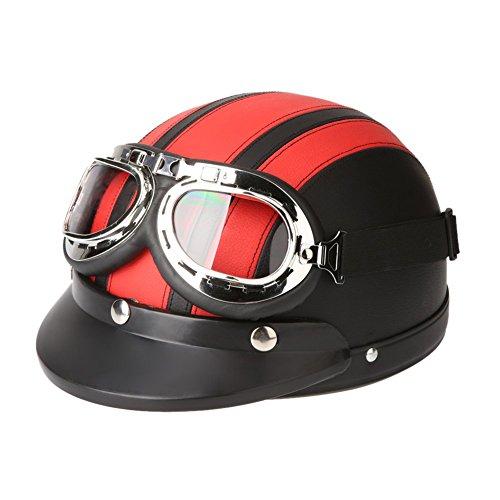 TOOGOOR 40-60 cm Leather Motorcycle Goggles Vintage Garman Style Half Helmets Motorcycle Biker Cruiser Scooter Touring Helmet Red