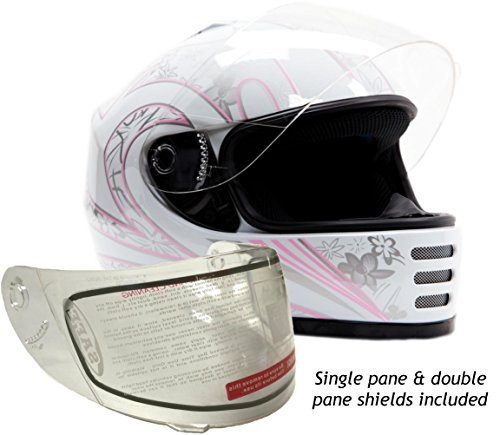 Youth Kids Full Face Snowmobile Snow Helmet White Pink  Medium