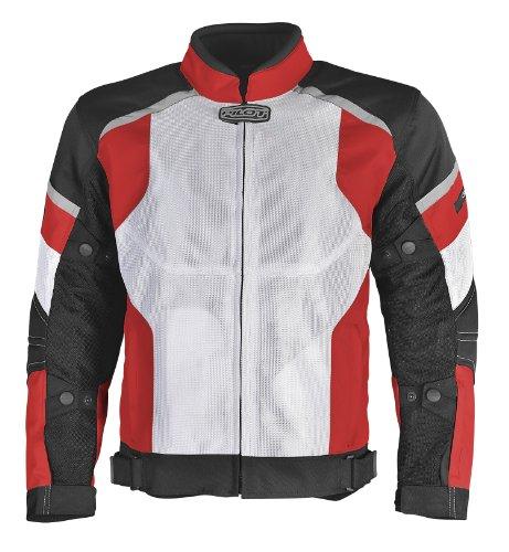 Pilot Motosport Men's Direct Air Mesh Motorcycle Jacket (white/red/black, X-large)