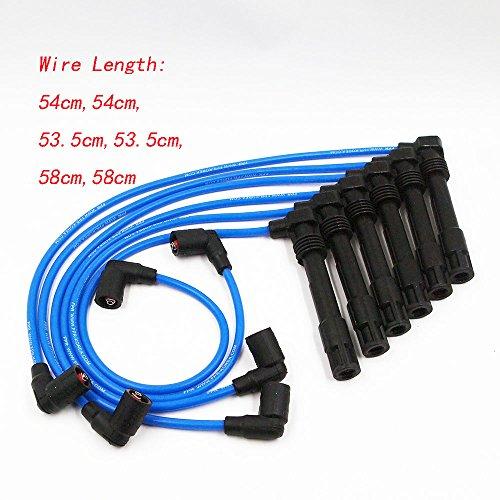 QUIOSS Set of 6 pcs Spark Plug Wires 57055 7mm for Volkswagen VW Passat 1998 - 2005 Audi A4 1997 - 2001 Audi A6 1998 - 2001