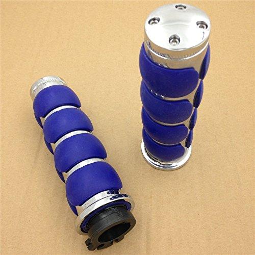 HTT- For Kawasaki Mean Streak Drifter Classic- Chrome Blue Flat Top 78 22mm Rubber Billet Aluminum Hand Grip