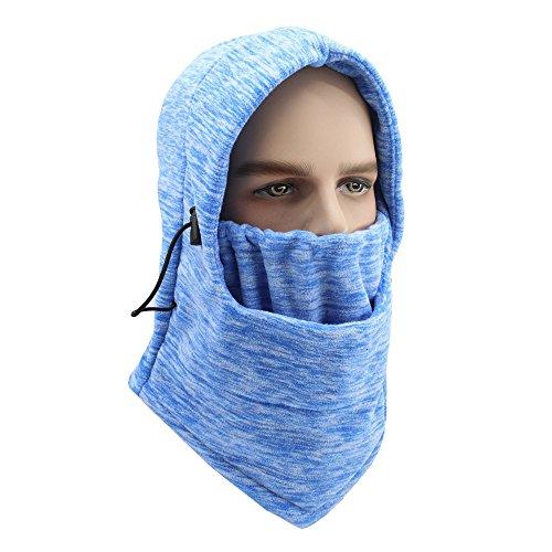 GANWAY Winter Cap Cycling Mask Motion Warm Headgear Camouflage Fleece Cold-proof Windbreak Motorcycle Skiing Face Hat Women Beanies Sky blue