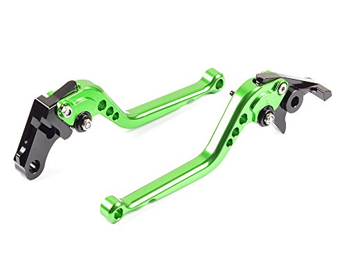 Tencasi Green CNC Long Adjustable Brake Clutch Lever for Kawasaki ZX7R  ZX7RR 1996-2003 GTR1000 1992-2006