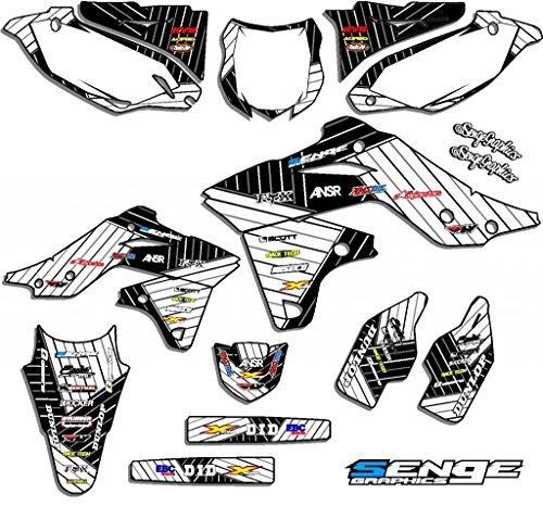 Senge Graphics 1997-2008 Kawasaki KLX 300 Race Series White Graphics Kit