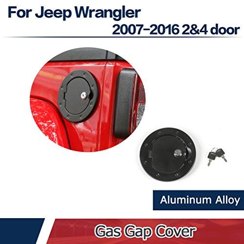 JCSPORTLINE Fuel Filler Door Cover Gas Tank Cap for 2&4 Door Jeep Wrangler 2007-2016 Black with Lock