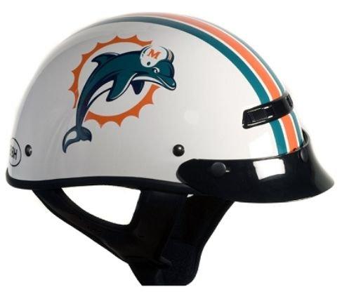 Brogies Bikewear Nfl Miami Dolphins Motorcycle Half Helmet (white, X-small)