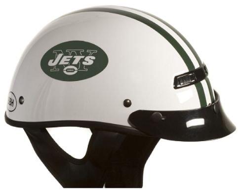 Brogies Bikewear Nfl New York Jets Motorcycle Half Helmet (white, Medium)