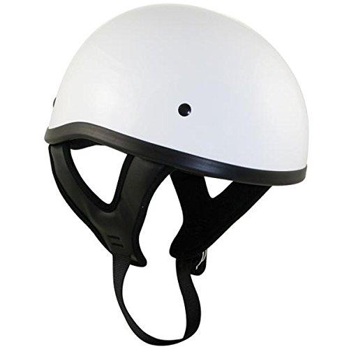 Dot White Glossy Motorcycle Skull Cap Half Helmet - Medium