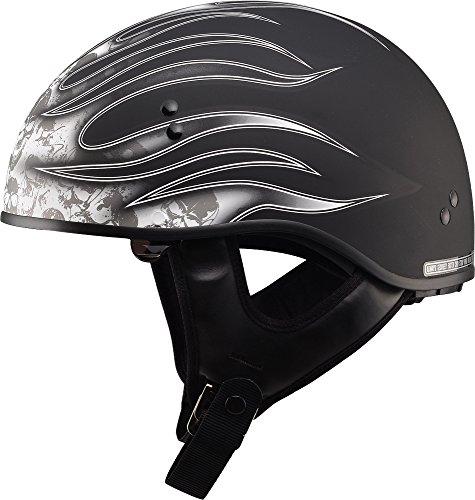 Gmax Gm65 Skull Flame Naked Half Helmet (flat Black/white, Small)