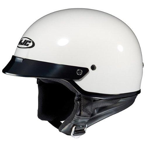 Hjc Solid Cs-2n Half (1/2) Shell Motorcycle Helmet - White / Large
