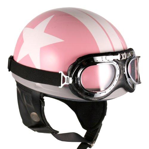 Goggles Vintage German Style Half Helmet (pink White-star , Large) Motorcycle Biker Cruiser Scooter Touring Helmet